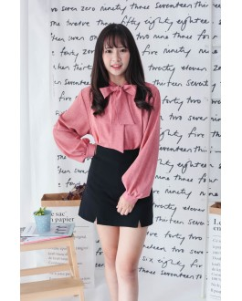 Korea Ribbon Collar Tie Long Sleeve Blouse (Brick)