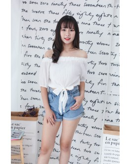 Korea Ribbon Tie Off Shoulder Top (White)