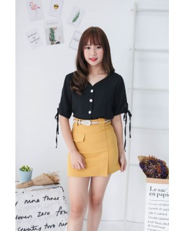 Korea Fake Pocket High Waist Skirt With Belt (Mustard)