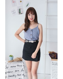 Korea Fake Pocket High Waist Skirt With Belt (Black)