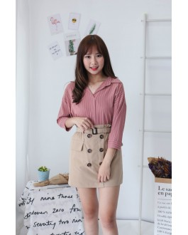 Korea Button Rubber High Waist Skirt With Belt (Khaki)