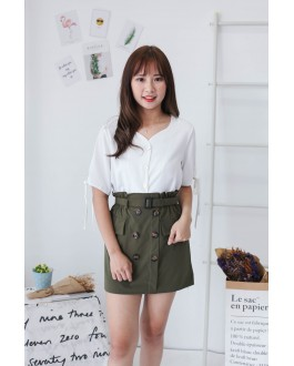 Korea Button Rubber High Waist Skirt With Belt (Army Green)