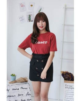 Korea Button Rubber High Waist Skirt With Belt (Black)