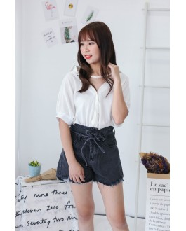 Korea Double Button With Denim Tie High Waist Denim Short Pant (Black)