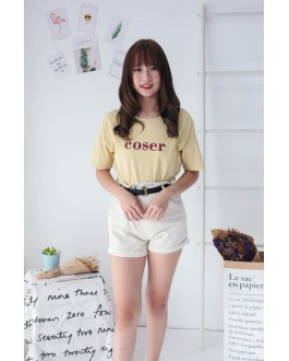 Korea Elastic Waist Double Button High Waist Denim Short Pant (Beige)