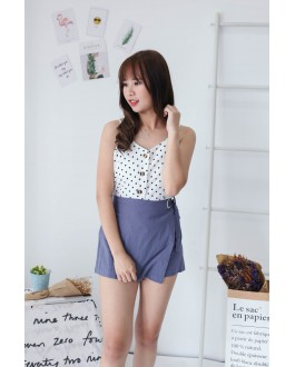 Korea Ribbon Metal Ring Rubber High Waist Skort (Blue)