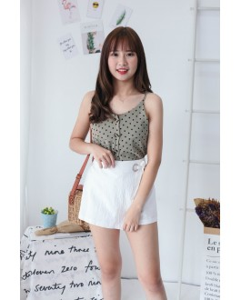 Korea Ribbon Metal Ring Rubber High Waist Skort (White)