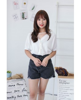 Korea Chocker Style Knot Short Sleeve Blouse (White)