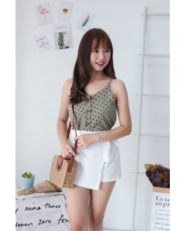 Korea Polka Dot Button V Neck Sleeveless Top (Green)