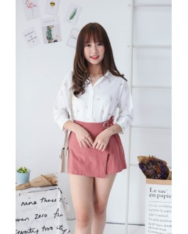 Korea Feather Elbow Length Sleeve Blouse (Pink)
