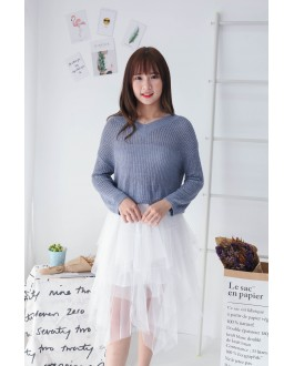 Korea Elastic Waist Layered Mess Skirt  (White)