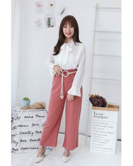 Korea Wide Leg Long Pant With Rope Ring Belt  (Brick)