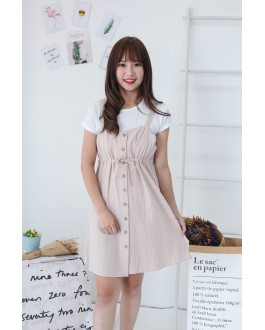 Korea Basic Top + Button Front Ribbon Tie Sleeveless Dress [Set] (Khaki)