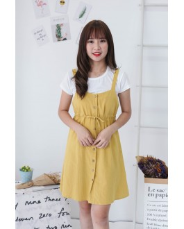 Korea Basic Top + Button Front Ribbon Tie Sleeveless Dress [Set] (Mustard)