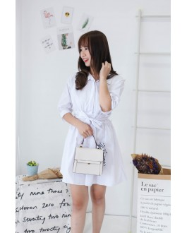 Korea Ribbon Tie V Neck Collar Blouse Dress (White)
