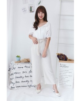 Korea Small V Collar Button Off Shoulder Top (White)