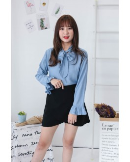 Korea Ribbon Collar Tie Long Sleeve Blouse (Blue)