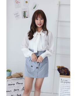 Korea Ribbon Collar Tie Long Sleeve Blouse (White)