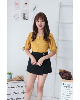 Korea Button Short Sleeve Top (Mustard)