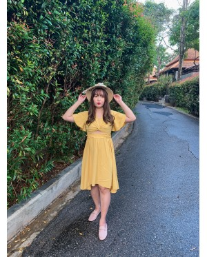 Korea Knot Short Sleeve Top + Rubber Dress [Set] (Mustard)