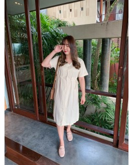 Korea Button Adjustable Waist Tie Dress (Beige)
