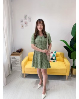 Korea Checks V Neck Button Elastic Back With Ribbon Tie Short Sleeve Dress (Green)