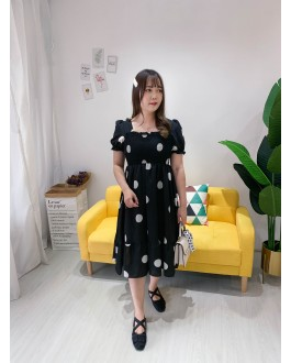 Korea Polka Dot Elastic Bust Waist Ribbon Tie Back Short Sleeve Dress (Black)