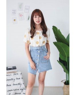 Korea Button Front & Double Pocket High Waist Denim Skirt With Belt (Blue)