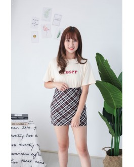 Korea Basic Checks High Waist Skirt (Black)