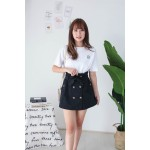 Korea Double Button A Line High Waist Skirt With Belt (Black) - BACKORDER ETA 12 DEC