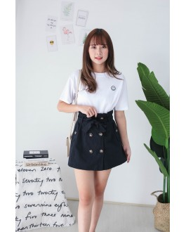 Korea Double Button A Line High Waist Skirt With Belt (Black)