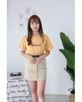 Korea Button Front Rubber High Waist Skirt With Belt (Khaki)