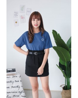 Korea Button Front Rubber High Waist Skirt With Belt (Black)