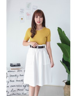 Korea Double Pocket Rubber Waist With Belt Midi Skirt (White)