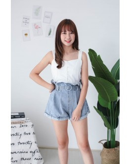 Korea Rubber Waist High Waist Denim Short Pant with Belt (Blue) - BACKORDER ETA 27 SEP
