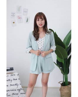 Korea Polka Dot Coat + Sleeveless Top + Rubber Short Pant 3件套 [Set] (Green)