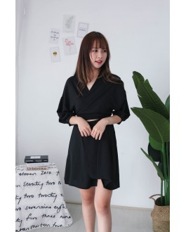 Korea Cross Strap Dress (Black)
