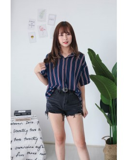 Korea Stripe Short Sleeve Blouse (Blue)
