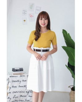 Korea Basic Knit Short Sleeve Top (Mustard)