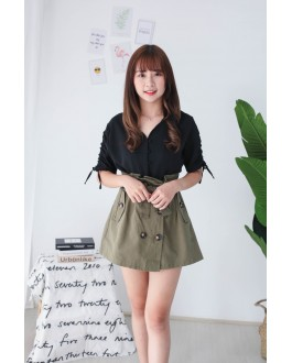 Korea Button Front V Neck Short Sleeve Top (Black)