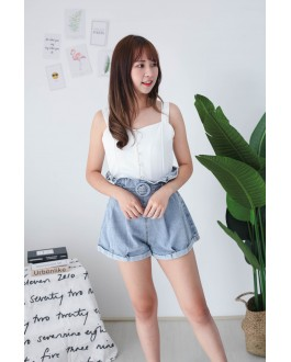 Korea Button Sleeveless Top (White)
