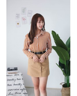 Korea Stripe Long Sleeve Blouse (Brown)