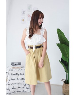 Korea Double Pocket Rubber Waist With Belt Midi Skirt (Mustard)