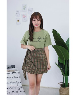 Korea New York Tee + Checks Rubber Skirt [Set] (Green)