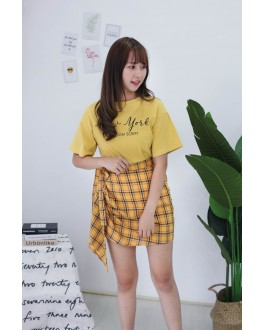 Korea New York Tee + Checks Rubber Skirt [Set] (Mustard)