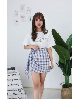 Korea New York Tee + Checks Rubber Skirt [Set] (White)