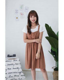 Korea Basic Top + Button Front Ribbon Tie Sleeveless Dress [Set] (Brown)