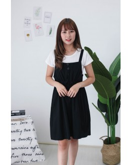 Korea Basic Top + Button Front Ribbon Tie Sleeveless Dress [Set] (Black)