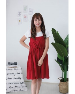 Korea Basic Top + Button Front Ribbon Tie Sleeveless Dress [Set] (Brick)