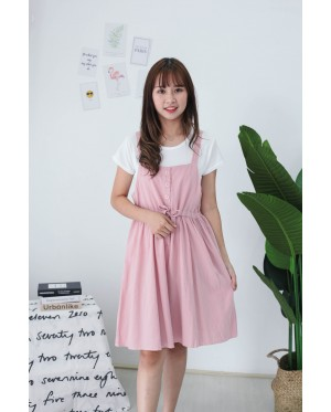 Korea Basic Top + Button Front Ribbon Tie Sleeveless Dress [Set] (Pink)